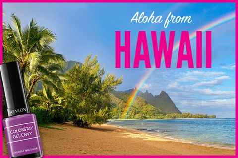 """<p>          Between turquoise waters, neon cocktails, and lush green palm trees, bold colors are everywhere on Hawaii. And that includes the island state's favorite accessory, the lei, which you can pair with the plum-perfect shade, """"<a href=""""https://ad.doubleclick.net/ddm/trackclk/N339.hearst/B9577749.134612508;dc_trk_aid=303506620;dc_trk_cid=69913507;dc_lat=;dc_rdid=;tag_for_child_directed_treatment="""" target=""""_blank"""">Up the Ante</a>.""""</p>"""