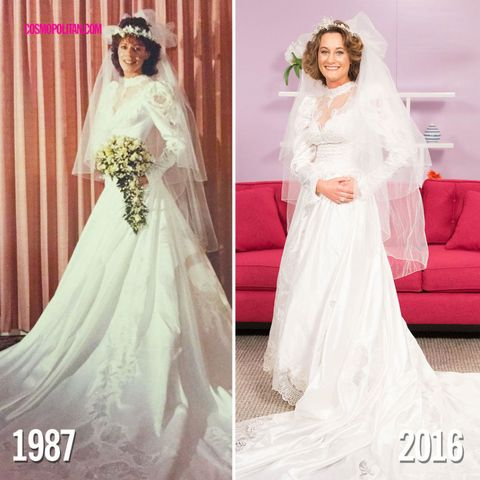 6 daughters tried on their mothers wedding dresses and the results 6 theresa and her daughter gina junglespirit Choice Image