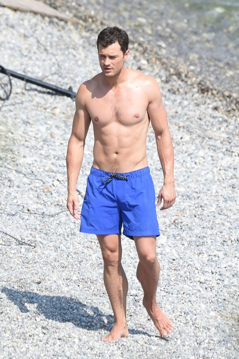 Jamie Dornan at the beach while filming Fifty Shades of Grey in France.