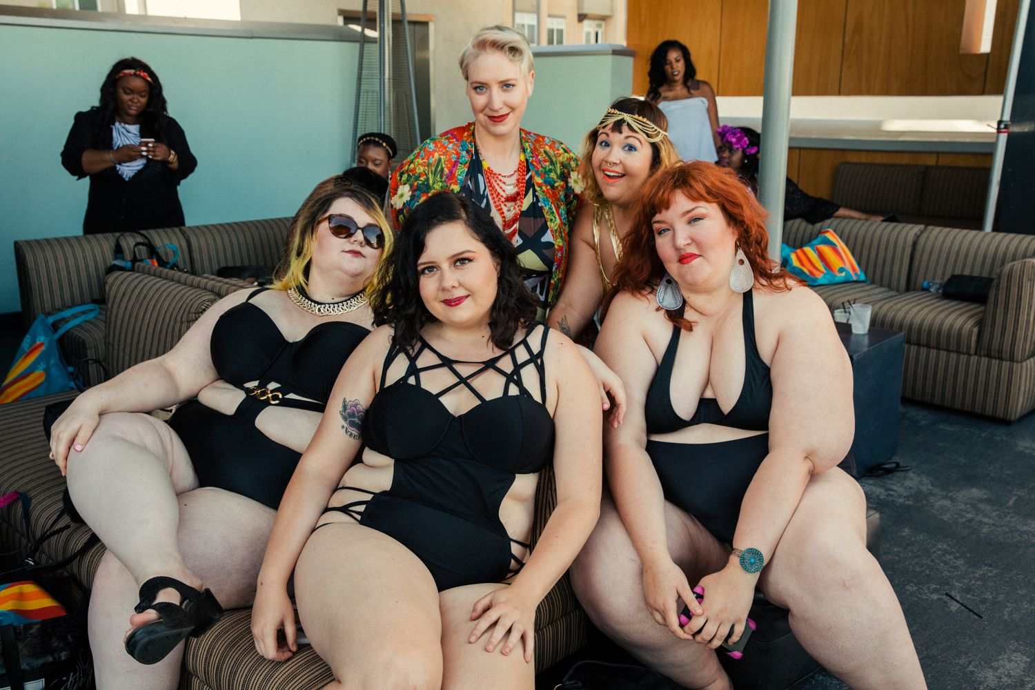 plus-size pool party - golden confidence pool party