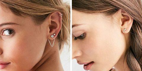Ear, Lip, Earrings, Cheek, Brown, Hairstyle, Skin, Eyelash, Chin, Forehead,