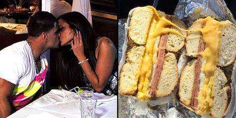 Food, Baked goods, Ingredient, Interaction, Drinkware, Kiss, Breakfast, Sharing, Romance, Sandwich,