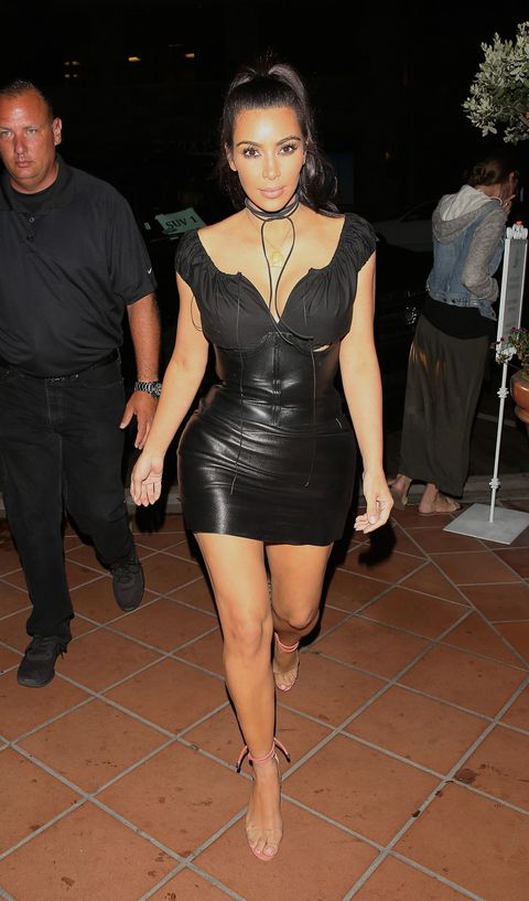 Kim Kardashian Wears Black Leather Corset Dress In San Diego