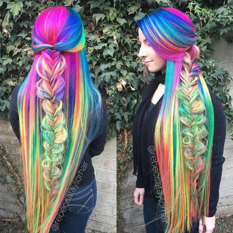 this woman 39 s super long rainbow hair is seriously magical. Black Bedroom Furniture Sets. Home Design Ideas