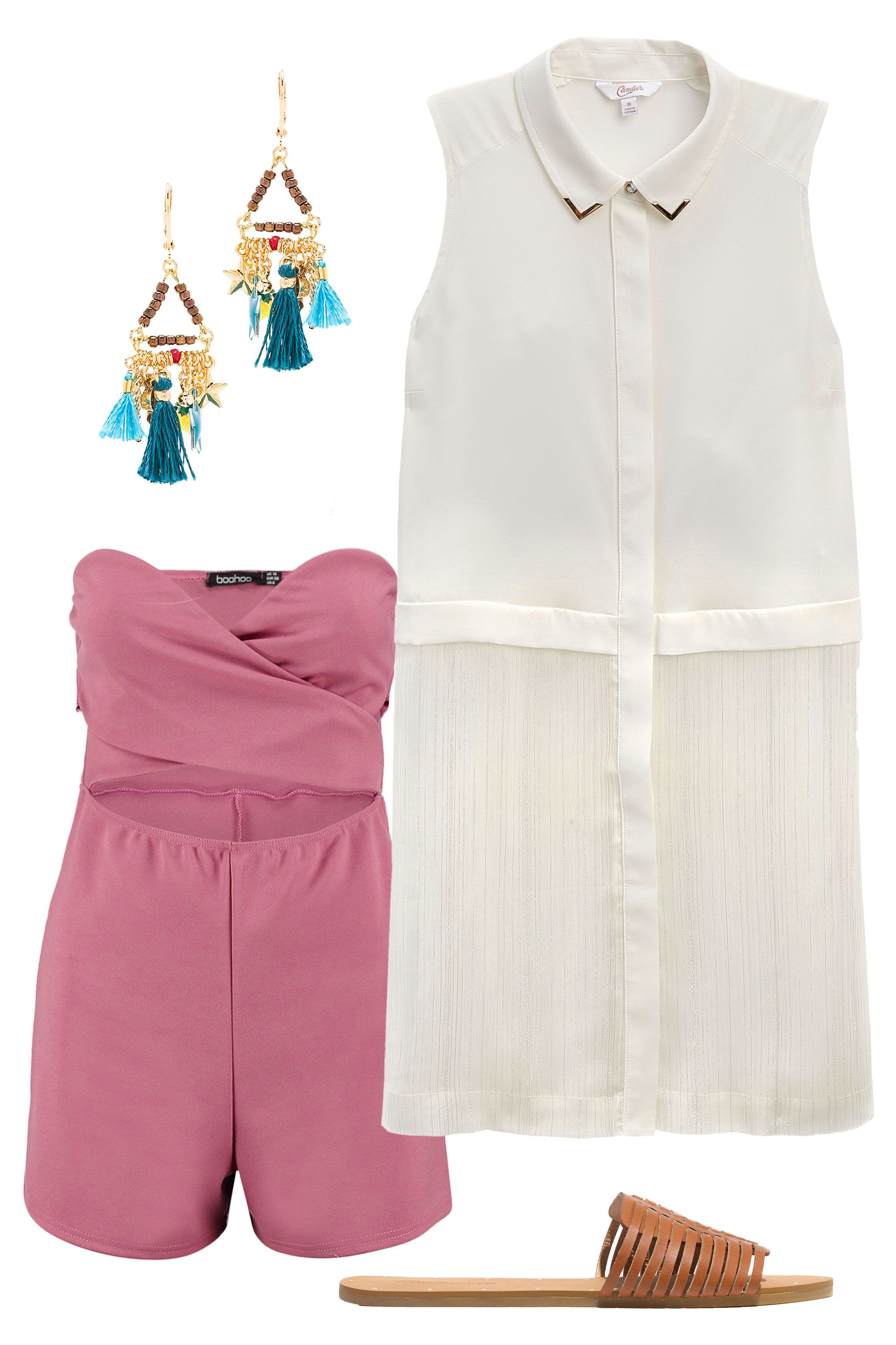 """<p>Take the top from boardroom boss to total beach babe with a few key accessories. Wear it open over a cheeky cut-out romper, and slip on neutral sandals and colorful tassel earrings. Hellooo, weekend!<em> </em></p><p><em><br></em></p><p><em><i><a href=""""http://www.kohls.com/product/prd-2586786/juniors-candies-button-front-tunic-shirt.jsp?color=Marshmallow&cid=DIS16FallTPR4&utm_campaign=201607_Candies_Cosmo&utm_medium=3p_dis&utm_source=Candies&utm_content=ad_1"""" target=""""_blank"""">Button-Front Tunic Shirt</a>, CANDIE'S, $38</i></em>&#x3B; <em><a href=""""http://www.boohoo.com/boohoo/ebiz/boohoo/invt/dzz71948"""" target=""""_blank"""">Ava Strapless Bandeau Cut Front Playsuit</a></em><i>, BOOHOO, $26&#x3B; <a href=""""http://www.revolve.com/shashi-lilu-charm-earrings-in-pyrite/dp/SHAS-WL40/?d=Womens"""" target=""""_blank"""">Lilu Charm Earrings</a>, SHASHI, $66&#x3B; <a href=""""https://www.madewell.com/madewell_category/SHOESANDBOOTS/sandals/PRDOVR~F1691/F1691.jsp?color_name=english-saddle"""" target=""""_blank"""">The Willa Slide Sandal</a>, MADEWELL, $59.99<strong></strong></i></p>"""