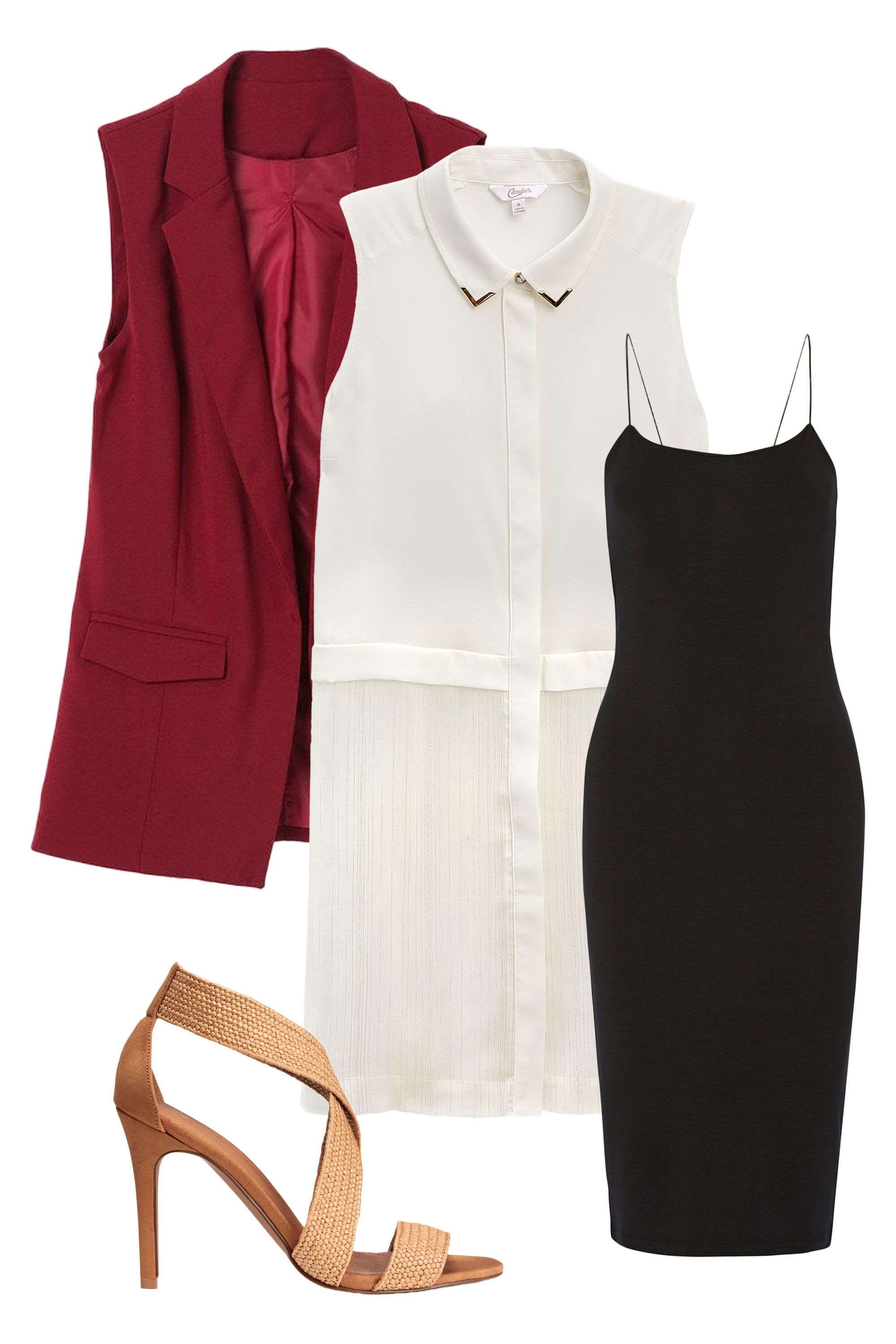 """<p>Pair this crisp button-down number with a fitted jersey dress <em>and</em> longline sleeveless vest. These pieces are thin enough to work into your look without making you look like the Michelin Man, while the contrasting hues will set your style apart from a sea of navy pencil skirts. Finish up with a neutral strappy heel, and you're ready to nail that morning meeting. (Actually, an iced coffee would be nice...)</p><p><span></span></p><p><em><br></em></p><p> <em><i><a href=""""http://www.kohls.com/product/prd-2586786/juniors-candies-button-front-tunic-shirt.jsp?color=Marshmallow&cid=DIS16FallTPR4&utm_campaign=201607_Candies_Cosmo&utm_medium=3p_dis&utm_source=Candies&utm_content=ad_1"""" target=""""_blank"""">Button-Front Tunic Shirt</a>, CANDIE'S, $38</i></em>&#x3B; <em><a href=""""https://www.net-a-porter.com/us/en/product/732125/t_by_alexander_wang/cutout-stretch-modal-jersey-dress"""" target=""""_blank"""">Cutout Stretch-Modal Jersey Dress</a>, T BY ALEXANDER WANG, $155&#x3B; <a href=""""http://genuine-people.com/products/red-sleeveless-silky-chiffon-vest?variant=10388923589"""" target=""""_blank"""">Sleeveless Long Vest</a>, GENUINE PEOPLE, $45&#x3B;  <a href=""""http://www.hm.com/us/product/46894?article=46894-B"""" target=""""_blank"""">Natural Sandals</a>, H&M, $39.99</em></p>"""