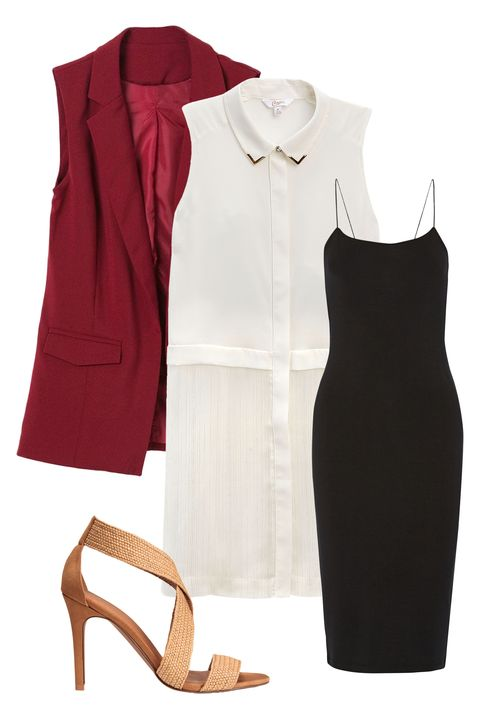 "<p>Pair this crisp button-down number with a fitted jersey dress <em>and</em> longline sleeveless vest. These pieces are thin enough to work into your look without making you look like the Michelin Man, while the contrasting hues will set your style apart from a sea of navy pencil skirts. Finish up with a neutral strappy heel, and you're ready to nail that morning meeting. (Actually, an iced coffee would be nice...)</p><p><span></span></p><p><em><br></em></p><p> <em><i><a href=""http://www.kohls.com/product/prd-2586786/juniors-candies-button-front-tunic-shirt.jsp?color=Marshmallow&cid=DIS16FallTPR4&utm_campaign=201607_Candies_Cosmo&utm_medium=3p_dis&utm_source=Candies&utm_content=ad_1"" target=""_blank"">Button-Front Tunic Shirt</a>, CANDIE'S, $38</i></em>; <em><a href=""https://www.net-a-porter.com/us/en/product/732125/t_by_alexander_wang/cutout-stretch-modal-jersey-dress"" target=""_blank"">Cutout Stretch-Modal Jersey Dress</a>, T BY ALEXANDER WANG, $155; <a href=""http://genuine-people.com/products/red-sleeveless-silky-chiffon-vest?variant=10388923589"" target=""_blank"">Sleeveless Long Vest</a>, GENUINE PEOPLE, $45;  <a href=""http://www.hm.com/us/product/46894?article=46894-B"" target=""_blank"">Natural Sandals</a>, H&M, $39.99</em></p>"