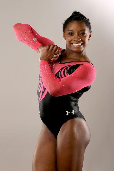 Arm, Sportswear, Shoulder, Elbow, Joint, Leotard, Gymnastics, Thigh, Wrist, Chest,