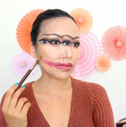 Lip, Eyebrow, Eyelash, Eye shadow, Orange, Beauty, Peach, Cosmetics, Eye liner, Eyelash extensions,