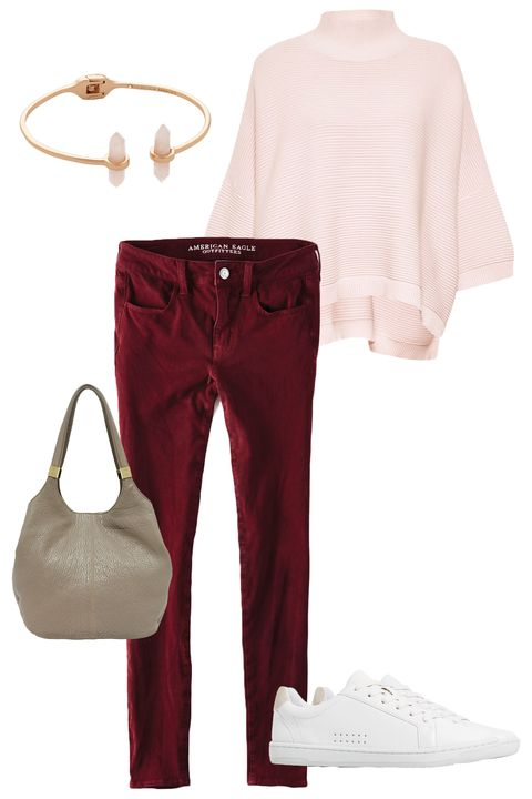 """<p>Enough of the cutoffs and flower crowns — it's time to slip back into your favorite pair of jeans and hunker down for autumn. Take a dark color like wine or burgundy (always a popular color from season to season), and brighten it up with an unexpected ballet-pink sweater. A street-chic sneaker and a neutral bag will carry you straight from class to the bar. </p><p><em><a href=""""https://www.ae.com/women-aeo-sateen-x4-jegging-wine/web/s-prod/0327_2715_558?cm=sUS-cUSD"""" target=""""_blank"""">AEO Sateen X4 Jegging in Wine</a>, American Eagle, $54.95; <a href=""""https://usa.frenchconnection.com/product/woman-collections-sweaters/78ezb/spring-mozart-high-neck-jumper.htm?clr=fce4f8"""" target=""""_blank"""">Spring Mozart High-Neck Jumper</a>, French Connection, $49.99; <a href=""""http://www.zara.com/us/en/woman/shoes/sneakers/lace-up-plimsolls-c765518p3710030.html"""" target=""""_blank"""">Lace-Up Plimsolls</a>, ZARA, $39.90; <a href=""""https://www.shopbop.com/cynnie-shopper-elizabeth-james/vp/v=1/1565567626.htm?folderID=2534374302055237&fm=other-viewall&os=false&colorId=95074"""" target=""""_blank"""">Cynnie Shopper</a>, Elizabeth and James (Available at Shopbop), $545; <a href=""""https://www.shopbop.com/raw-crystal-hinge-cuff-rebecca/vp/v=1/1508931347.htm?folderID=2534374302060428&fm=other-viewall&os=false&colorId=78454"""" target=""""_blank"""">Raw Crystal Cuff</a>, Rebecca Minkoff (Available at Shopbop), $78</em><br></p>"""
