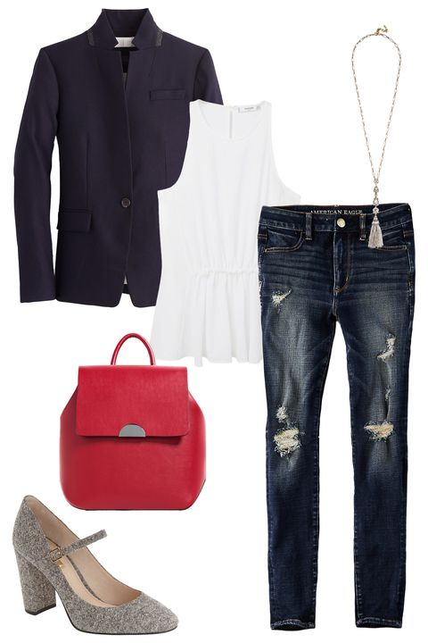 """<p>This borrowed-from-the-boys staple keeps coming back season after season for a reason — it's sporty, casual, and an easy way to instantly upgrade an outfit. Try it with a pretty white top and classic pair of jeans as a chill, easy base layer. Then style it up a bit with a pair of tweed Mary Janes, a tassel necklace, and a bright red backpack that'll hold all your <del>beauty essentials</del> books for class.</p><p><em><a href=""""https://www.jcrew.com/womens_category/blazers/regent/PRD~B0323/B0323.jsp?srcCode=AFFI00001&siteId=J84DHJLQkR4-3X3agnF3%2FMl7T6QzwUIckQ"""" target=""""_blank"""">Regent Blazer</a>, J.Crew, $198; <a href=""""http://shop.mango.com/US/p0/women/clothing/shirts/blouses/pleated-detail-top/?id=61049034_02&n=1&s=prendas.blusas"""" target=""""_blank"""">Pleated Detail Top</a>, Mango, $39.99; <a href=""""https://www.ae.com/women-aeo-denim-x4-hi-rise-jegging-indigo-rust-destroy/web/s-prod/0433_9641_907?cm=sUS-cUSD"""" target=""""_blank"""">AEO Denim X4 Hi-Rise Jegging</a>, American Eagle, $49.95; <a href=""""https://www.baublebar.com/product/26057-odette-tassel-pendant.html"""" target=""""_blank"""">Odette Tassel Necklace</a>, BaubleBar, $48; <a href=""""http://www.zara.com/us/en/woman/bags/view-all/rigid-backpack-c734144p3611188.html"""" target=""""_blank"""">Rigid Backpack</a></em><em>, ZARA, $39.90;<em> <a href=""""http://shop.nordstrom.com/s/louise-et-cie-jayde-mary-jane-block-heel-pump-women-nordstrom-exclusive/4334031?origin=category-personalizedsort&fashioncolor=BLACK%2F%20WHITE%20TWEED%20FABRIC"""" target=""""_blank"""">Jayde Mary Jane</a>, Louise et Cie (Available at Nordstrom), $79.90</em></em><br></p>"""