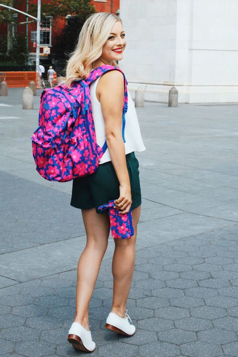 """<p>Studious style doesn't get much simpler — or cuter — than this. Wear your favorite romper underneath a sleeveless blouse, along with a few additions to take the look from beach day to first day of class. Try an eye-catching backpack in a colorful graphic print, and rock it with a pair of white oxfords for a look that has """"A+"""" written all over it.</p>"""