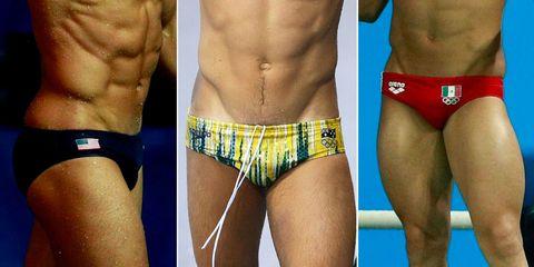 Yellow, Human leg, Thigh, Muscle, Shorts, Trunk, Organ, Swimsuit bottom, Tan, Chest,
