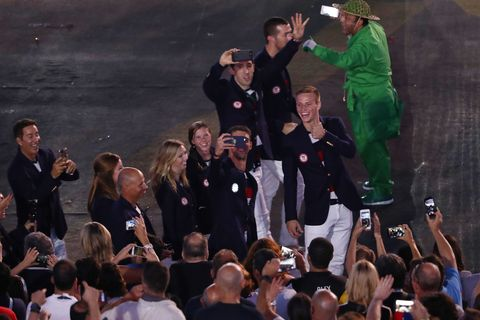 Olympic athletes on smartphones