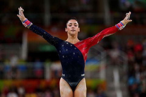 Sportswear, Hand, Leotard, Gymnastics, Competition event, Artistic gymnastics, Championship, Thigh, Athlete, Individual sports,
