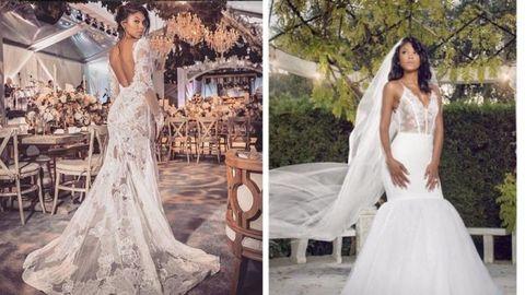 Clothing, Dress, Bridal clothing, Sleeve, Human body, Shoulder, Gown, Textile, Photograph, Wedding dress,