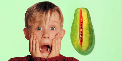 Lip, Cheek, Green, Fruit, Food, Produce, Melon, Natural foods, Sweater, Tooth,