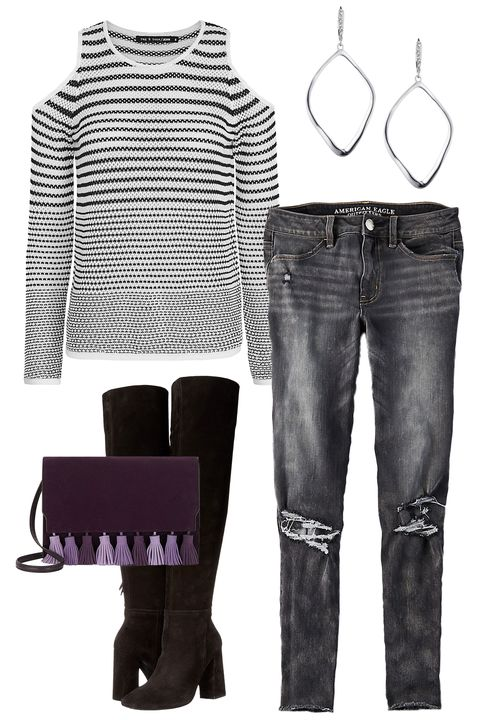 """<p>Grabbing a bite to eat? Try a cold-shoulder top and heeled boots for an outfit that's perfectly autumn-casual, with just a hint of sexy. </p><p><em><a href=""""https://www.intermixonline.com/product/rag+-+bone-jean+brenna+cold+shoulder+striped+knit.do?sortby=ourPicks&from=fn&"""" target=""""_blank"""">Brenna Cold Shoulder Top</a>, Rag & Bone (Available at Intermix), $228; <a href=""""https://www.ae.com/women-aeo-denim-x4-hi-rise-jegging-crop-charcoal-ash/web/s-prod/2433_9460_063?cm=sUS-cUSD"""" target=""""_blank"""">AEO X4 Hi-Rise Jegging Crop</a>, American Eagle, $49.95; <a href=""""http://www.zappos.com/free-people-liberty-heel-boot-black"""" target=""""_blank"""">Liberty Boot</a>, Free People (Available at Zappos), $228; <a href=""""http://www.rebeccaminkoff.com/sofia-clutch?src=catalog"""" target=""""_blank"""">Sophia Clutch</a>, Rebecca Minkoff, $245; <a href=""""https://www.alexisbittar.com/leverback-wsculpted-aura-tear.html"""" target=""""_blank"""">Aura Sculpted Earring</a>, Alexis Bittar, $85</em></p>"""