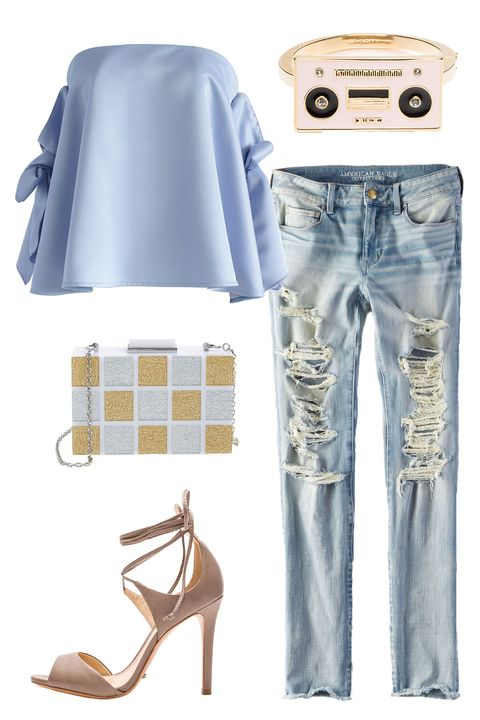 """<p>Show off your playful side with a cheeky bracelet and a patterned box clutch. Majorly distressed jeans and a flowing strapless top lend a breezy but self-assured vibe. </p><p><em><a href=""""http://www.chicwish.com/simple-yet-sassy-off-shoulder-top-in-blue.html"""" target=""""_blank"""">Blue Off the Shoulder Top</a>, Chicwish, $53; <a href=""""https://www.ae.com/women-aeo-denim-x4-skinny-jean-crushed-ice/web/s-prod/0432_9610_946?cm=sUS-cUSD"""" target=""""_blank"""">AEO X4 Skinny Jean</a>, American Eagle, $59.95; <a href=""""http://www.revolve.com/schutz-moony-heel-in-goat/dp/SCHU-WZ228/?d=Womens"""" target=""""_blank"""">Mooney Heel</a>, Schutz (Available at Revolve), $190; <a href=""""https://www.katespade.com/products/jazz-things-up-boom-box-bangle/WBRUD106.html?cgid=ks-jewelry-bracelets&dwvar_WBRUD106_color=974#start=2&cgid=ks-jewelry-bracelets"""" target=""""_blank"""">Jazz Things Up Boom Box Bangle</a>, Kate Spade, $108; <a href=""""http://shop.nordstrom.com/s/sondra-roberts-resin-box-clutch/4344303?origin=related-4344303-0-2-PP_4-Data_Lab_Recommendo_V2-also_viewed2&recs_type=related&recs_productId=4344303&recs_categoryId=0&recs_productOrder=2&recs_placementId=PP_4&recs_source=Data_Lab_Recommendo_V2&recs_strategy=also_viewed2&recs_referringPageType=item_page%20%5D"""" target=""""_blank"""">Resin Box Clutch</a>, Sondra Roberts (Available at Nordstrom), $328</em></p>"""