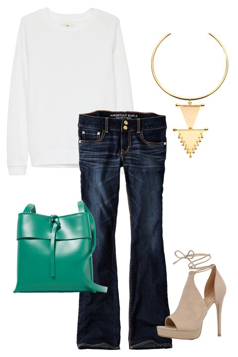 "<p>The absolute easiest way to upgrade your favorite jeans and tee is with a killer necklace. Picking a flare silhouette over your go-to skinny jeans helps switch up the look a bit, and an easy bag adds some cheerful color to your weekday outfit. </p><p><em><a href=""http://us.aritzia.com/product/andrews-t-shirt/57767.html?dwvar_57767_color=1275"" target=""_blank"">Andrews Tee</a>, TNA (Available at Aritzia), $45<a href=""https://www.ae.com/women-aeo-denim-x4-artist-flare-jean-dark-ink/web/s-prod/1435_9492_970?cm=sUS-cUSD"" target=""_blank"">; AEO X4 Artist Flare Jean</a>, American Eagle, $49.95; <a href=""http://ambersceats.com/product/nahla-choker/"" target=""_blank"">Nahla Choker</a>, Amber Sceats, $199; <a href=""http://www.aldoshoes.com/us/en_US/women/sandals/platform-sandals/c/126/TILLEY/p/45284430-32"" target=""_blank"">Tilley Platform Heel</a>, ALDO, $90; <a href=""https://www.net-a-porter.com/us/en/product/675036/Kara/nano-tie-leather-shoulder-bag"" target=""_blank"">Nano Tie Bag</a>, Kara (Available at Net-a-Porter), $350</em></p>"