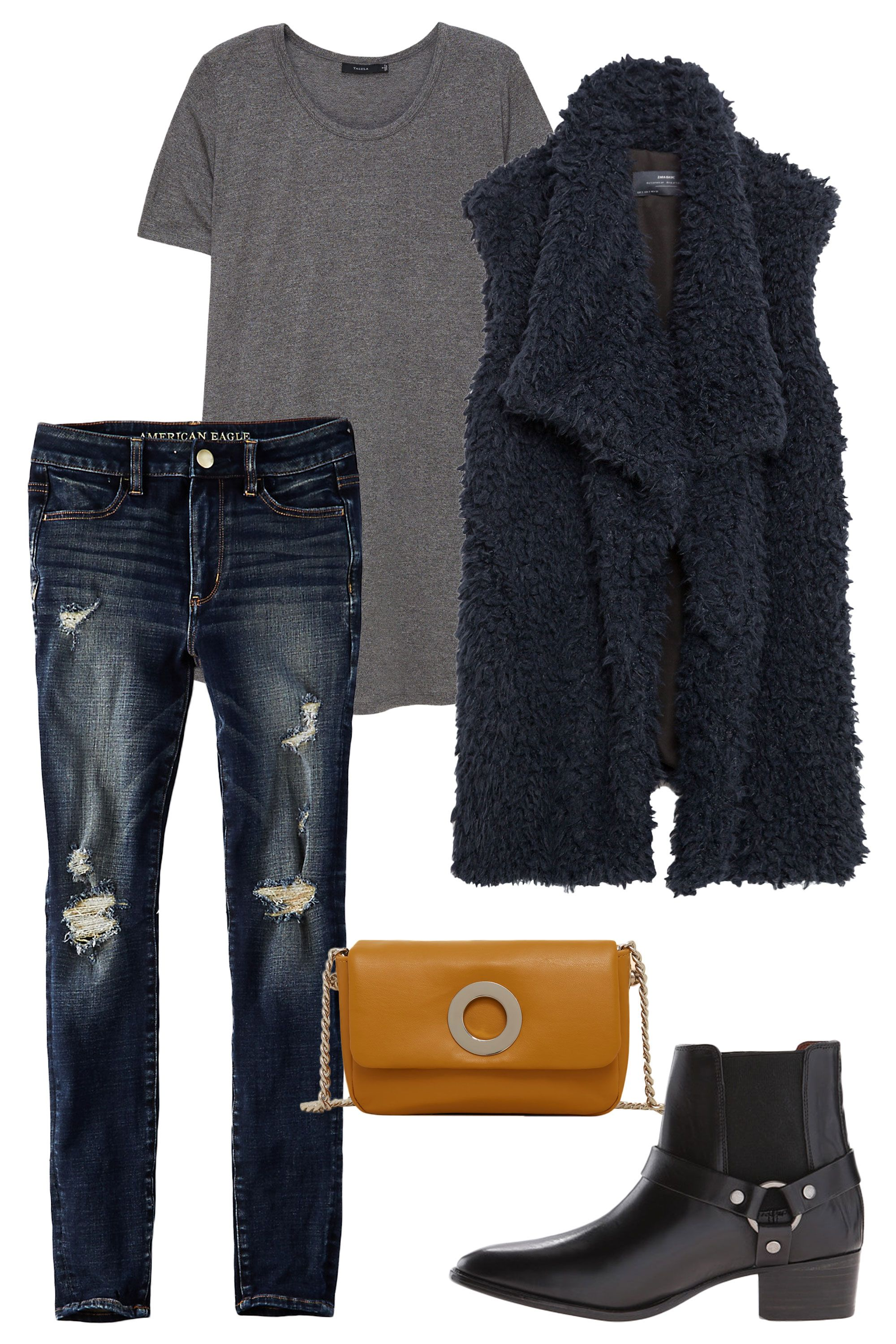 "<p>Layering never goes out of style, and this cozy AF vest will keep you warm as the weather transitions from muggy to chilly. Booties always pair nicely with distressed denim, and a mustard-color bag shows you've got that whole '70s-inspired trend on lock. </p><p><em><em> <a href=""https://www.ae.com/women-aeo-denim-x4-hi-rise-jegging-indigo-rust-destroy/web/s-prod/0433_9641_907?cm=sUS-cUSD"" target=""_blank"">AEO X4 Hi-Rise Jegging</a>, American Eagle, $49.95</em>; <a href=""http://us.aritzia.com/product/bilbao-t-shirt/55612.html?dwvar_55612_color=6434"" target=""_blank"">Bilbao T-Shirt</a>, Talula (Available at Aritzia), $45; <a href=""http://www.zara.com/us/en/woman/sale/outerwear/faux-fur-waistcoat-c437584p3213590.html"" target=""_blank"">Faux Fur Waist Coat</a>, ZARA, $69.90; <a href=""http://www.zappos.com/frye-dara-harness-chelsea-black-smooth-veg-calf"" target=""_blank"">Dara Harness Bootie</a>, Frye (Available at Zappos), $348; <a href=""http://shop.mango.com/US/p0/women/accessories/bags/crossbody-bags/chain-bag/?id=73080131_15&n=1&s=accesorios.bolsos"" target=""_blank"">Chain Bag</a>, Mango, $39.99</em></p>"