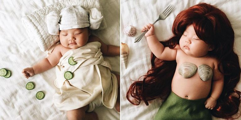 This Mom Puts Costumes on Her Napping Baby and They're So Freaking Adorable