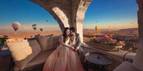 Dress, Gown, Petal, Wedding dress, Balloon, Hot air ballooning, Bride, Air sports, Victorian fashion, Aerostat,