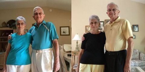 Old couple matching outfits