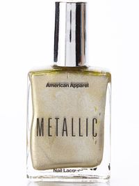 "<b>Metallic Nail Polish 'Gold Flash,'</b> $6, <a href=""http://store.americanapparel.net/product/?productId=nailpolsm""target=""_blank"">americanapparel.com</a>"