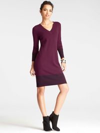 "Wear alone with ankle boots and tights, or button up a patterned oxford underneath for extra coverage—and flair. Colorblocked V-Neck Sweater Dress, $109, <a href=""http://www.anntaylor.com/colorblocked-v-neck-sweater-dress/313717?colorExplode=false&skuId=14793226&catid=cata000012&productPageType=fullPriceProducts&defaultColor=8427"" target=""_blank"">Ann Taylor</a>."