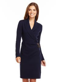 "As flattering as any other wrap dress but better, thanks to leather buckle detailing at the hip. Chaps Solid Faux-Wrap Sweater Dress, $110&#x3B; <a href=""http://www.kohls.com/product/prd-1358933/chaps-solid-faux-wrap-sweaterdress.jsp"" target=""_blank"">Kohl's</a>."