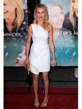 The actress paired her one-shoulder dress with red lips and wavy summer hair at the premiere of <i>My Sister's Keeper</i> in NYC.