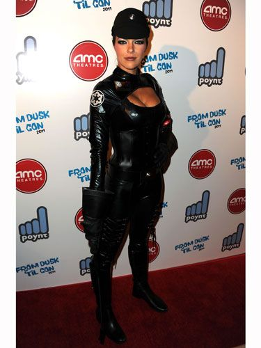 We appreciate Adrianne trying to spread the message of safe sex by dressing up as a latex condom and going out in public.
