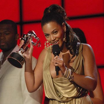 Beyonce accepts an award at MTV's Video Music Awards.