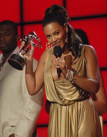 Beyonce accepts an award at MTV's Video Music Awards.