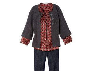 A boxy cardi looks so modern when thrown over a graphic blouse.