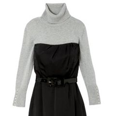 Shivering shoulders? A finely woven turtleneck keeps you covered in a cocktail dress.