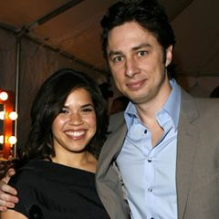 America Ferrera and Zach Braff at the Film Independent's Spirit Awards in Santa Monica.