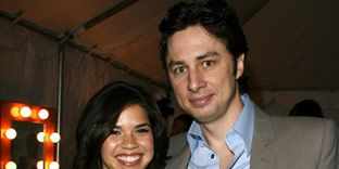 America Ferrera and Zach Braff at the Film Independent's Spirit Awards in Santa Monica.