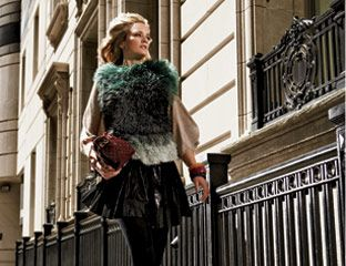 Top and skirt, Missoni; tights, Wolford, $65; boots, Gucci; bag, Chanel; yellow bangle, $4, and green bangle, $3, Forever 21; burgundy bangle, Banana Republic, $38