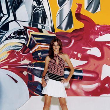 Keyhole halter top, Heart, Moon, and Stars, $32.90&#x3B; pleated stretch cotton-twill miniskirt, BCBG Max Azria, $106, 888-636-BCBG&#x3B; striped silk charmeuse scarf, worn as belt, Lauren by Ralph Lauren, $32&#x3B; closed-toe leather pumps, D&G, $375&#x3B; clutch bag, Chanel, $570, 800-550-0005