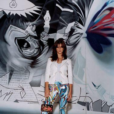 Three-quarter-sleeve canvas jacket, Vivienne Tam, $295&#x3B; stretch-rayon V-neck top, Polo Jeans Co. Ralph Lauren, $29&#x3B; cotton capri pants, ABS by Allen Schwartz, $144&#x3B; floral ankle-strap stiletto-heel patent-leather sandals, D&G