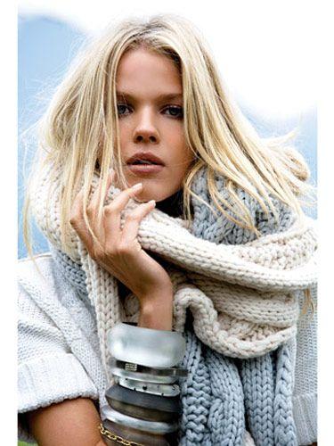 Sweater, Nautica, $79; scarves, Generra, $195 each; bracelets, Alexis Bittar, $115 to $175 each