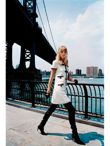 Dress and boots, Chanel; gloves, La Crasia, $125