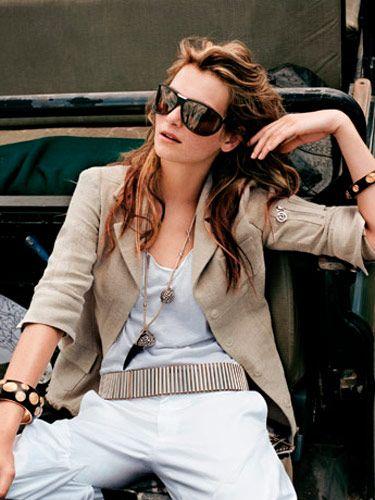 Jacket, pants, belt, and necklace, Paco Rabanne, pacorabanne.com; tank top, Tory by TRB, $35, toryltd.com; sunglasses and bracelets, Bottega Veneta, bottegaveneta.com