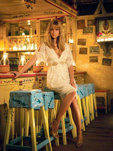 Dress, Y & Kei; shoes, Ralph Lauren COllection, $495, polo.com; necklace, Sydney Evan