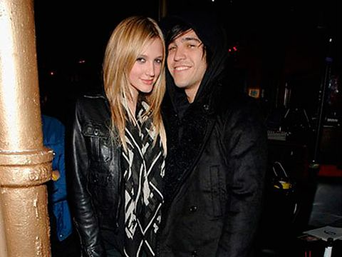 Ashlee Simpson and Pete Wentz at the Vive Le Karaoke party at Angels and Kings in New York City.