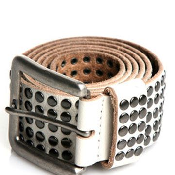 "$79, available online at <a href=""http://www.couturecandy.com/rough-roses/five-row-studded-belt-in-vanilla/product.html"" target=""_blank"">couturecandy.com</a>"