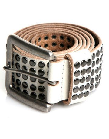 """$79, available online at <a href=""""http://www.couturecandy.com/rough-roses/five-row-studded-belt-in-vanilla/product.html"""" target=""""_blank"""">couturecandy.com</a>"""