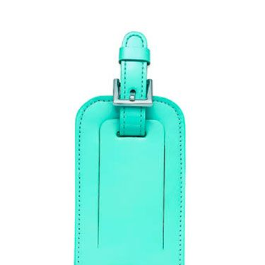 "Even in coach, this luggage tag will having you flying in high style.  In classic Tiffany  Blue patent leather.  (<a href=""http://www.tiffany.com/Shopping/Item.aspx?sku=19929906&mcat=&cid=&search_params=s+1-p+2-c+-r+-x+-n+6-ri+-ni+0-t+luggage+tags&search=1""target=""_blank"">tiffany.com</a>, $60)"